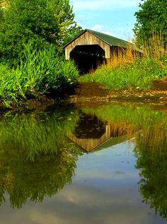 we stopped at an old covered bridge near Cambridge for some quintessential rustic Vermont architecture photos. The bridge was on a rarely used farm road, Old Bridges, Scary Bridges, Water Reflections, Old Barns, Covered Bridges, Vermont, Beautiful Places, Beautiful Scenery, Amazing Places