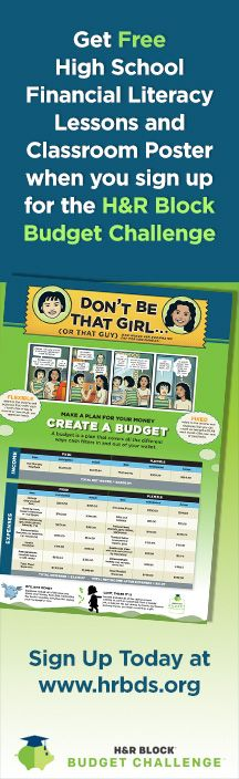 Teens will learn money doesn't grow on trees and develop real-world skills like how to read a paycheck and pay bills on time with the H&R Block Budget Challenge, a fun online simulation starting this fall. Sign up today to get your free classroom poster and lesson plans: www.hrbds.org