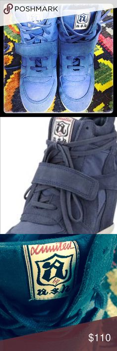 """⚜️Ash blue suede wedge sneaker⚜️ ⚜️These Ash """"Bowie"""" wedge sneakers in blue suede are aptly named:  you'll look & feel like a rock star⚜️ Ash Shoes Ankle Boots & Booties"""