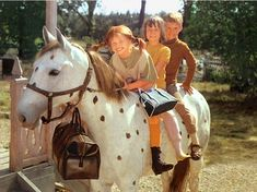 Pippi, Annika & Tommy atop Pippi's horse Little Old Man (Lilla Gubben). Naturally, her bag of gold coins is also brought along! Pippi Longstocking, Happy Woman Day, Happy Women, 90s Childhood, Childhood Memories, Still Love Her, Kids Ride On, Horse Girl, Illustrations