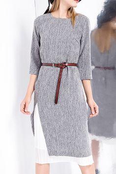 3/4 Sleeve Belted Slit Dress