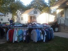 How to use your trampoline at a rummage sale. Hang shirts from bar and put clothes in piles around edge. It was a great idea we came up with!