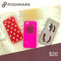 iPhone 5 cases 5s Swarovski Bundle of 3 cute iPhone 5s cases. Pink on has Swarovski rhinestones and is brand new. Polka dot also brand new. Eye case used but in great condition. Includes one screen protector and cleaning cloth. The pink Swarovski one I paid over $30, it's gorgeous . Accessories Phone Cases