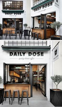 Gorgeous Coffee Shop in Greece! Andreas Petropoulos has recently completed the design of Daily Dose, a small takeaway coffee bar in the city of Kalamata, Greece, that features a white, black and wood interior. Small Coffee Shop, Coffee Shop Design, Design Shop, Küchen Design, Rustic Coffee Shop, Coffee Shop Names, Cozy Coffee, Design Color, Industrial Coffee Shop