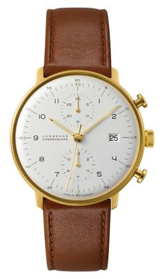 027/7800.00 Max Bill Chronoscope Watch by Junghans. Timeless style of a PVD gold coating on a polished stainless steel case, matched with a richly dyed calf skin strap make this impeccable timekeeping piece one to watch. Shop now! http://www.junghanswatchesusa.net/027780000-Max-Bill-Chronoscope-_p_190.html