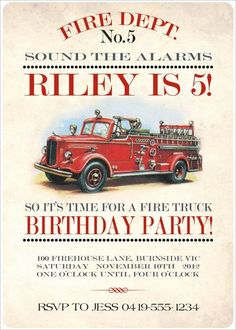 Free Printable Fire Truck Birthday Invitation - √ 30 Free Printable Fire Truck Birthday Invitation , Firefighter Birthday Invitation Ideas for Frey Boy Birthday Parties, Birthday Fun, Birthday Party Invitations, Birthday Ideas, Themed Parties, Fireman Party, Firefighter Birthday, Invitation Fete, Birthday Template