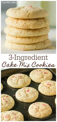 These cake mix sugar cookies use only 3 ingredients and always turn out soft and chewy. Find this amazing recipe at gracefullittlehoneybee.com #recipes #baking #easyrecipes #easydesserts #cookies #cakemixcookies #sugarcookies