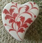 For Sale - Heart Shaped Porcelan Box Lidded Footed Red Floral Andrea by Sadek