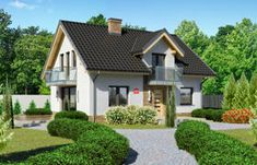Projekt domu - Dom przy Alabastrowej 20 115.00m² | GALERIADOMOW.PL 100 M2, House Plans, Outdoor Structures, Mansions, House Styles, Building, Case, Home Decor, Sims 4