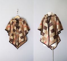 70s cape / 1970s wool hooded poncho / by VacationVintage on Etsy, $72.00