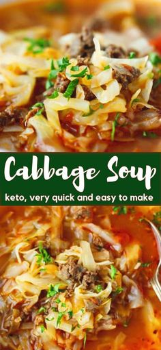 Keto Cabbage Soup Recipe very quick and easy to make nutritious and delicious soup made with cabbage ground beef and tomatoes Hearty one pot a family favorite perfect for the cold weather # Ground Beef Keto Recipes, Beef Soup Recipes, Cabbage Soup Recipes, Cooking Recipes, Healthy Recipes, Dinner Recipes, Healthy Soups, Potato Recipes, Vegetarian Recipes