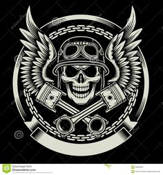 Vintage Biker Skull With Wings And Pistons Emblem - Download From Over 41 Million High Quality Stock Photos, Images, Vectors. Sign up for FREE today. Image: 58285553