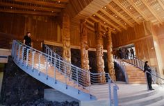 Media Gallery | Nisga'a Lisims Government Nisga'a Lisims Government Four Pts'aans (totem poles) greet visitors in the entrance way at the Nisga'a Lisims Government administration building in Gitlaxt'aamiks.