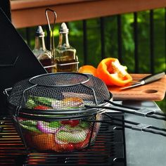 The Outdoor Grill Basket and Skillet is going to change the way you barbecue. It's a skillet, deep basket, and grill basket all in one! Grill small items like vegetables, potatoes and shrimp without f