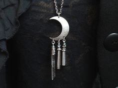 crescent necklace half moon celestial by TurquoiseStarJewelry