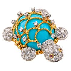 Hammerman Brothers Turquoise and Diamond Turtle Brooch | From a unique collection of vintage brooches at http://www.1stdibs.com/jewelry/brooches/brooches/