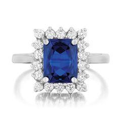 Emerald-cut sapphire & diamond ring