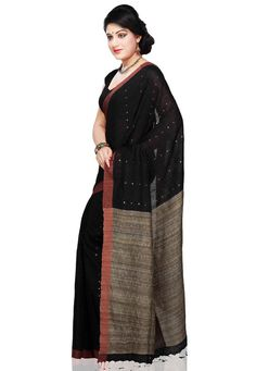 Buy Black Pure Matka and Pure Ghicha Bengal Handloom Saree with Blouse online, work: Hand Woven, color: Beige / Black, usage: Party, category: Sarees, fabric: Silk, price: $225.60, item code: SABA5037, gender: women, brand: Utsav