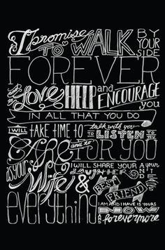 "I made Dr. J this ""Chalkboard"" Typography poster of our wedding vows for our First Anniversary!"