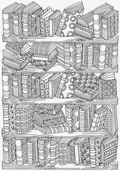 Bookshelf Doodle Coloring Page
