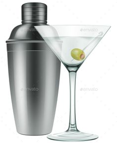 A Glass of Martini with Olive and a Silver Shaker.