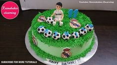 Soccer or football theme birthday cake design for boys girls kids Simple Birthday Cake Designs, Easy Kids Birthday Cakes, Easy Cakes For Kids, Cartoon Birthday Cake, Cake Designs For Girl, Football Birthday Cake, Friends Birthday Cake, Simple Cake Designs, Animal Birthday Cakes