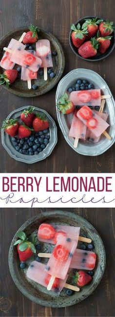 Berry Lemonade Popsicles are perfect for summer with fresh strawberries and blueberries! by kristie