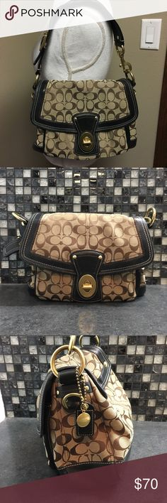 Coach legacy stripe Ali signature shoulder bag Good condition Coach signature shoulder bag. This coach legacy stripe Ali signature purse is light and dark brown on the front. The inside has a few pen marks but is otherwise in good condition. This purse's authentication number is 10340. The only other flaws on this purse are a small scratch on the front leather, and two tiny stains shown in the last photo.     🌸BUNDLE AND SAVE  🌸NO TRADES 🌸REASONABLE OFFERS CONSIDERED  🌸FEEL FREE TO ASK…
