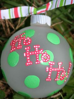 "Hand panted Christmas Ornament: ""Ho Ho Ho"" in polka dots and dotted lettering. Painted Christmas Ornaments, Hand Painted Ornaments, Noel Christmas, Christmas Balls, Homemade Christmas, Holiday Ornaments, Diy Ornaments, Christmas Sayings, Personalized Ornaments"