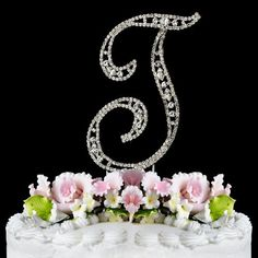 Vintage  Swarovski Crystal Wedding Cake Topper  Letter T ** Click image to review more details.-It is an affiliate link to Amazon.