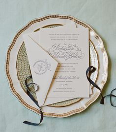 Classic and Vintage-Inspired Mint and Navy Calligraphy Wedding Invitations: http://ohsobeautifulpaper.com/2015/03/mint-and-navy-calligraphy-wedding-invitations/ | Design: Holly Hollon | Letterpress Printing: Patrick Masterson | Photo: Mandy Busby Creative