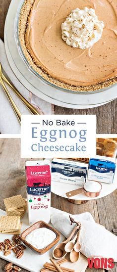 Spruce up your seasonal desserts with this unique and one-of-a-kind No Bake Eggnog Cheesecake recipe! Whip up this must-try holiday dessert!