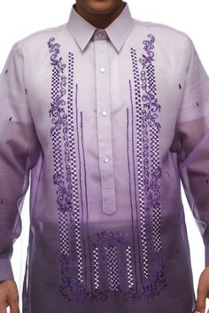 Made out of Jusi, this Barong is one of the most enduring popular styles for any formal occassion. Barong Tagalog Wedding, Denim Kurti, Filipiniana Dress, Purple Bridesmaid Dresses, Purple Themes, Fashion Wear, Mens Fashion, Bridesmaids And Groomsmen, Groom Outfit