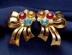Coro Signed Vintage 1950's Colourful Rhinestone Screw Back Earrings 40s 50s 60s   eBay