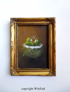 Hummingbird Nest painting framed original bird art by 4WitsEnd, via Etsy