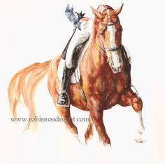 'Unity' An original dressage painting of Laura Bechtolsheimer and her horse Mistral Hjoris. By Robin Roadnight Equestrian Art.