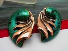 Vintage Matisse Copper Enamel Clip on Earrings   eBay