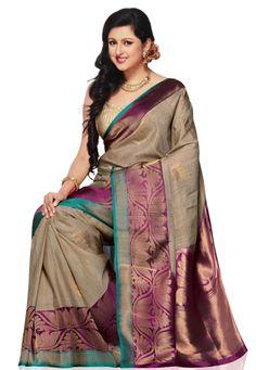 Beige Pure Tussar Banarasi Silk Handloom Saree with Blouse: Banaras Sarees, Tussar Silk Saree, Soft Silk Sarees, Indian Sarees Online, Silk Sarees Online, Indian Dresses, Indian Outfits, Beautiful Saree, Beautiful Dresses