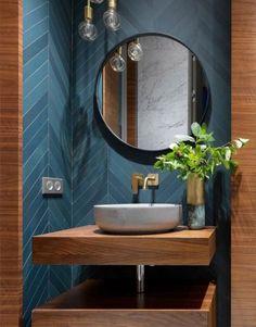 Badezimmer 15 ideas bath room ideas modern dark powder rooms for 2019 Bad Inspiration, Bathroom Design Inspiration, Design Ideas, Modern Bathroom Design, Bathroom Interior Design, Bath Design, Modern Bedroom, Bedroom Rustic, Design Bedroom
