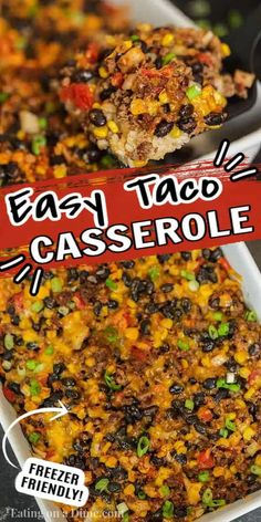 Taco rice casserole is an easy dinner idea and freezer friendly. It is a great recipe to stretch your meat and budget friendly. #eatingonadime #mexicanrecipes #casserolerecipes #recipeseasy #freezermeals Rice Recipes For Dinner, Mexican Food Recipes, Great Recipes, Baby Food Recipes, Beef Recipes, Food Baby, Mexican Dishes, Turkey Recipes, Bon Appetit