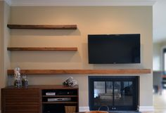 e9fc8b9dfb2c Reclaimed lumber floating shelves. Now available at abodeacious.com Long  Floating Shelves