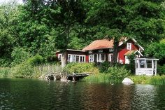 Swedish Cottage, Red Cottage, Sweden House, Camping Aesthetic, Tiny House Cabin, River House, Scandinavian Home, Cabins In The Woods, Holiday Destinations