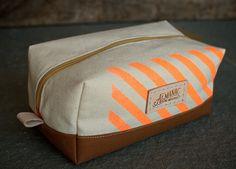 Large Zip Case - Neon Orange, Cream & Tan via Etsy Dopp Kit, Travel Toiletries, Office Accessories, Herschel Heritage Backpack, Cotton Canvas, Screen Printing, Stripes, Neon, Zip