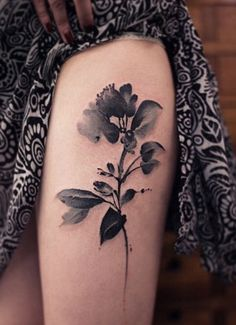 Monochrome Watercolor Flower Tattoo