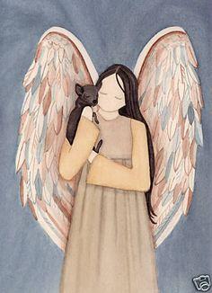 Black chihuahua with angel / Lynch signed folk art print #folkart