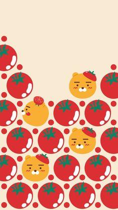 Kawaii Wallpaper, Wallpaper Iphone Cute, Cute Wallpapers, Iphone Wallpapers, Kakao Ryan, Kakao Friends, Cell Wall, Friends Wallpaper, Line Friends