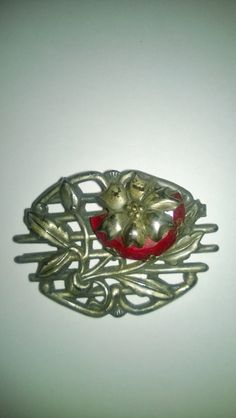 Vintage Silver and Ruby Red Colored Flower Brooch Stunning by MYBRICKHOUSE on Etsy