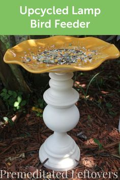 Create a beautiful and functional piece of garden decor that both you and the birds can enjoy with this project for an upcycled lamp turned into a lovely birdbath. The birds are sure to appreciate your use of sustainable materials.