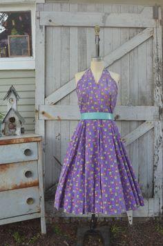 1950s purple halter dress 50s novelty print wrap dress size medium vintage summer dress with full skirt by melsvanity on Etsy