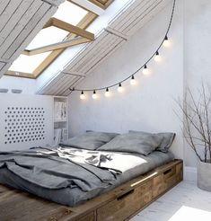 25 Good DIY Small Apartment Decorating Ideas on a Budget - Modern Casa Loft, Loft House, Minimalist Bedroom, Minimalist Home, Minimalist Apartment, Bedroom Loft, Bedroom Decor, Bedroom Ideas, Budget Bedroom